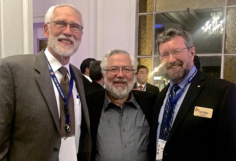 RAC International Affairs Officer George Gorsline, VE3YV, RAC President Glenn MacDonell, VE3XRA, with our host the President of Radio Club de Chile, Galdino Besomi, CE3PG