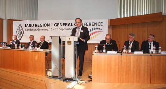 IARU President Tim Ellam, VE6SH, addresses the Convention