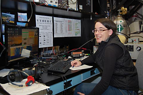 Emily McCullough, PEARL scientist and aspiring Amateur learns about FT-8 and arctic propagation.