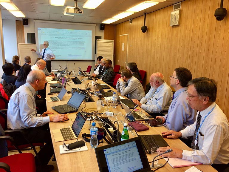 Discussing Amateur Radio satellite management at the meeting of Working Party 5A at the ITU in Geneva.