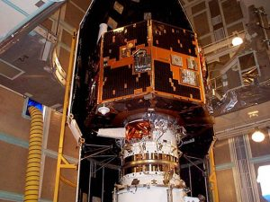 The IMAGE spacecraft undergoing launch preparations in early 2000. Credits: NASA
