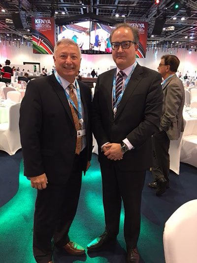 RAC's International Affairs Officer Serge Bertuzzo, VA3SB (on left) and IARU President Tim Ellam, VE6SH