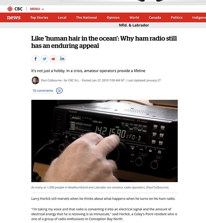 CBC News item January 27: Why Ham Radio is still