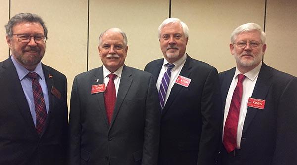 Glenn MacDonell, VE3XRA (RAC President), Rick Roderick, K5UR (ARRL President), Rick Niswander, K7GM (ARRL Treasurer) and Gregory Widin, K0GW (ARRL First Vice-President).